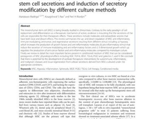 A review of therapeutic effects of mesenchymal stem cell secretions and induction of secretory modification by different culture methods.